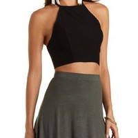 Strappy-Back Halter Crop Top by Charlotte Russe - Black