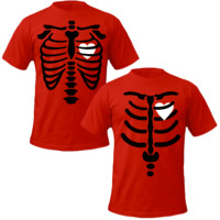 rentgen bones of thorax with heart Couple Tshirts