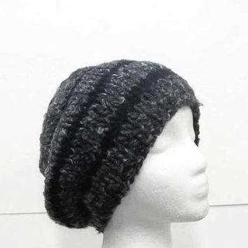Beanie slouch hat dark and light gray  5302