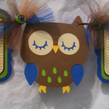 Brown owl baby shower banner, its a boy banner, yellow chevron, brown, blue, lime green and orange