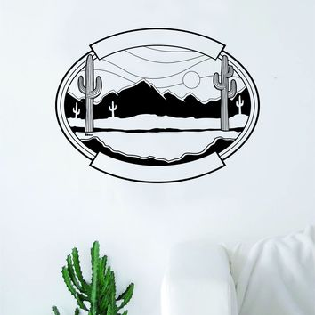 Desert Scene Decal Sticker Wall Vinyl Art Wall Bedroom Room Home Decor Teen Inspirational Teen Kids Nature Cactus Moutnains
