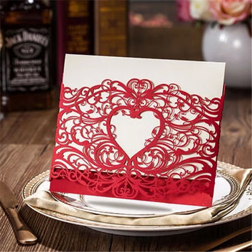 5pcs/lot Romantic Heart Style Laser Cut Red/Gold Paper with Hollow Flower Wedding Invitation Card Event & Party Decoration