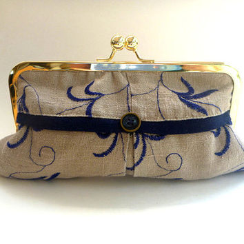 20% COUPON SALE, Linen clutch, wallet, cosmetic bag, embroidered, taupe, beige, navy, upcycled fabric, button detail