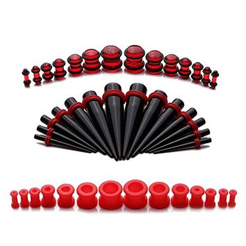 BodyJ4You Gauges kit 28 Pieces Taper Kit Black Silicone Set 8G-12mm Stretching Set