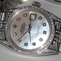 Mens Rolex Datejust Oyster Perpetual Diamonds Everywhere