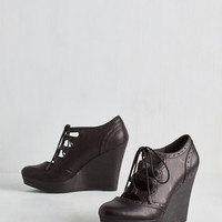 Urban Stacked in Your Favor Wedge in Black by Restricted from ModCloth