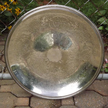Big Silver Serving Tray, Round Silver Plate Tray, English Silver Manuf Corp Ornate Floral, Wedding or Wall Tray