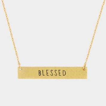 """""""Blessed"""" Metal Message Bar Pendant Necklace"""
