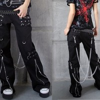 Japan womens mens BLACK COOL punk goth rock ZIPPER pants trousers S-XXL
