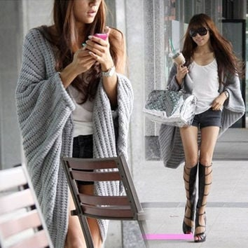 Lady Batwing Casual Loose Sweater Coat Knitting Long Cardigan Shawl Outwear