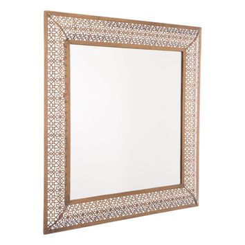 Steel Moroccan Escamas Mirror, In Antique Golden