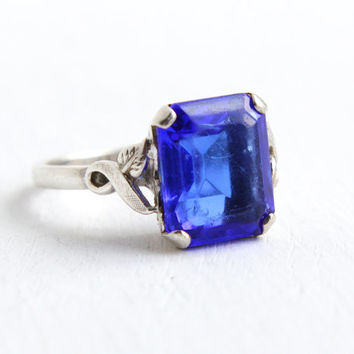 Vintage Art Deco Sterling Silver Simulated Sapphire Ring - 1940s Size 8 Dark Blue Emerald Cut Glass Stone Hallmarked Clark & Coombs Jewelry