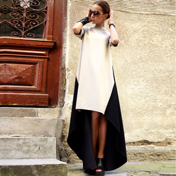 Stand Neck Half Sleeve Patchwork Irregular Maxi Loose Long Dress