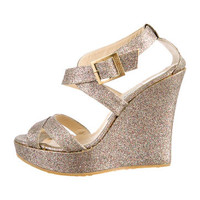 Jimmy Choo Glitter Platform Wedges
