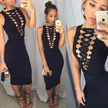 womens sexy dresses party night club dress deep V neck Sleeveless Bandage Bodycon Summer Dress 2016 Summer Style