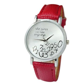 Who Cares I am Late Anyways Letter Fashion Leather Watch