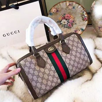 GUCCI 2018 new double G stripe stitching handbag Boston bag