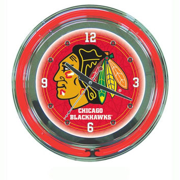 NHL Chicago Blackhawks Neon Clock - 14 inch Diameter