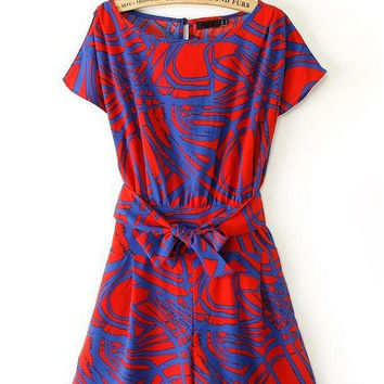 Stitching Color Rompers Geometric Print Bat Sleeve Siamese Short Dress