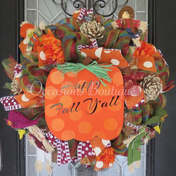 Fall Wreath, Autumn Wreath, Pumpkin, Door Hanger, Front door wreath, Wreath for door, Outdoor wreaths