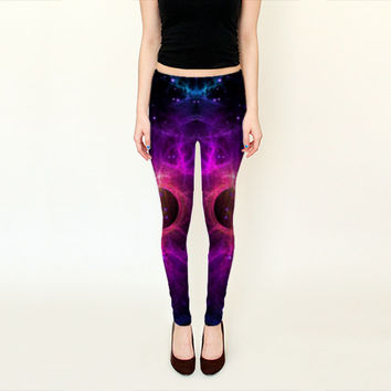 Wearable Art, custom made, exclusive design, Galaxy stars leggings, shaping and flattering Abstract Universe space design yoga pants purple