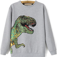 Grey Dinosaur Print Long Sleeve Sweatshirt
