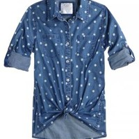 Polka Dot Denim Shirt | Girls Tops New Arrivals | Shop Justice