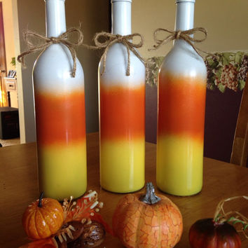 Candy Corn Wine Bottles, Fall decorations, table decorations, autumn decorations, Halloween decorations