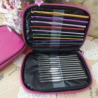 22pcs Multi Aluminum Crochet Hooks Needles Knit Weave Craft Yarn Case (Size: 1, Color: Dark purple) = 1946631108