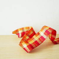 Tartan Christmas ribbon, wired, extravaggant, plaid ribbon in red orange and gold, polyester fabric Christmas ribbon, 5 yards craft ribbon