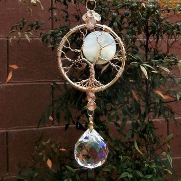 Full Moon Tree of life crystal suncatcher, Large crystal AB ball & Agate 40mm coin bead,  Feng shui, window ornament, Free shipping