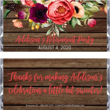 Rustic Floral Retirement Candy Bar Wrappers