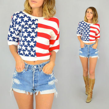 80's Patriotic AMERICAN FLAG boho grunge Cropped SWEATER, extra small-small