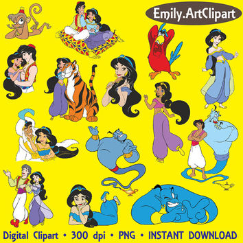 Aladdin Clipart Party Digital Graphic Images Princess Jasmine Disney Clip Art Scrapbooking Invitations Printable INSTANT DOWNLOAD 300dpi