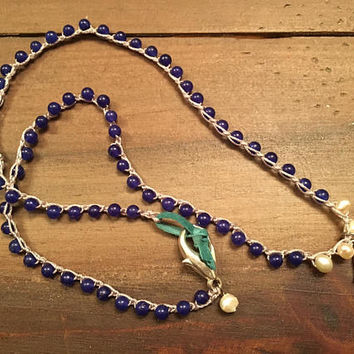 Crocheted Boho Blue Beaded Necklace, Evil Eye Pendant, Freshwater Pearl