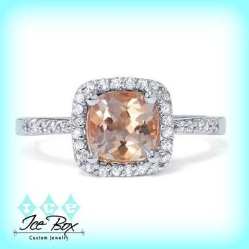 Morganite Vintage Engagement Ring 2.5ct Cushion Cut in a 14k White Gold Diamond Halo Setting