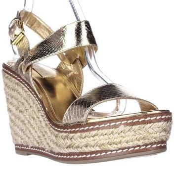 Lauren Ralph Lauren Serana Wedge Espadrille Sandals, Gold, 8.5 US / 39.5 EU