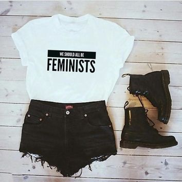 We Should All Be Feminists Women Tshirt Tees Ladies Feminism Slogan Hipster Women Equal Right T Shirt 2018 new fashion tops tees