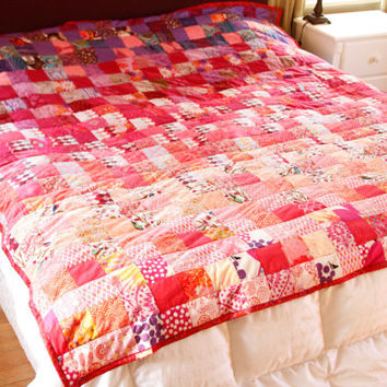 Pink and Purple Ombre Patchwork Quilt - King or Queen size quilt, one of a kind