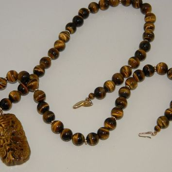 Asian Carved Tiger Eye Bead Pendant Necklace 14k Gold