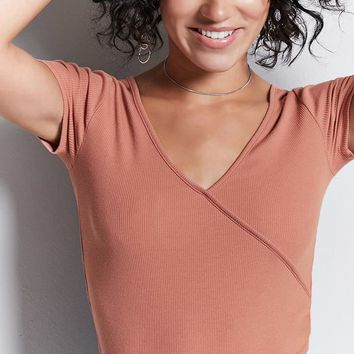 Ribbed Faux-Wrap Top