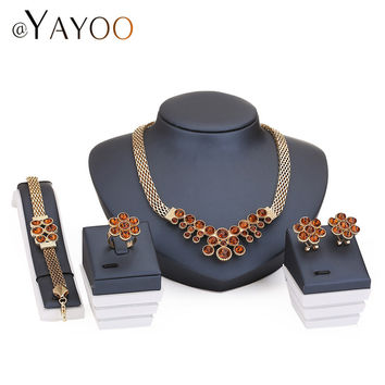 Wedding Bridal Crystal Jewelry Sets For Women Fashion Gold Plated Pendant Lady Rhinestone Costume Statement  Necklace Earrings