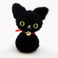 Midnight - Black Nekomini - Mini Kitty Cat Amigurumi