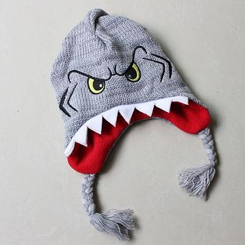 Cute Killer Animals Shark Plush Knitting Cotton Hats Novelty Fish Nemo Cosplay Warm Hat Halloween Party Kids Adult Caps Beanies