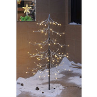 4FT Prelit Fir Snow Christmas Tree with Led Star Treetop Ornament