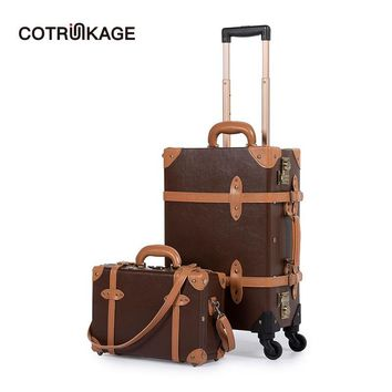 COTRUNKAGE Mens TSA Lock Vintage Carry On Suitcase Brown Pu Leather Rolling Trunk Womens Luggage Set 2 Piece with Cosmetic Case
