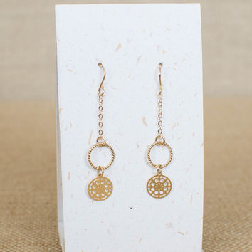 Gold Disk Earrings with Twist Hoop