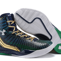 Men's Under Armour Stephen Curry Clutchfit Drive Green Blue Basketball Shoes