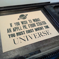 Carl Sagan - Apple Pie - Second Edition Letterpress Poster