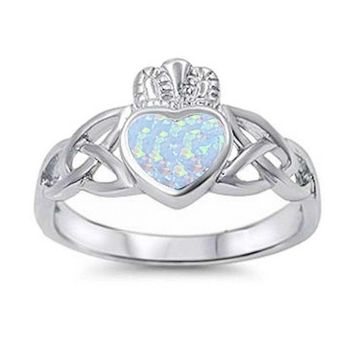 Sterling Silver Irish Claddagh Celtic Style Created White Opal Heart Ring